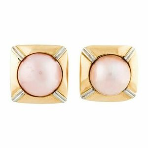 14k 21g Clip-on Pink Mabé Pearl Earrings New!